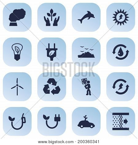 Collection Of Contamination, Treatment, Rubbish And Other Elements.  Set Of 16 Ecology Icons Set.