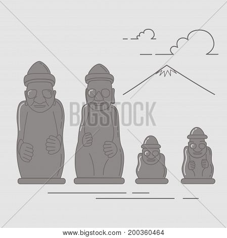 Dol Hareubang also called tol harubang hareubang or harubang large rock statue found on Jeju Island off the southern tip of South Korea. Vector illustration made in a line art style