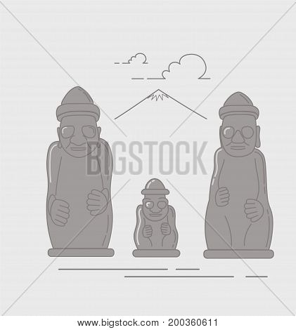Dol Hareubang, also called tol harubang, hareubang, or harubang, large rock statue found on Jeju Island off the southern tip of South Korea. Vector illustration made in a line art style