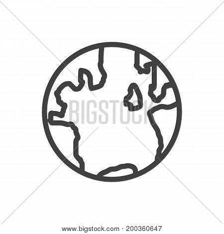 Vector Globe  Element In Trendy Style.  Isolated Earth Outline Symbol On Clean Background.