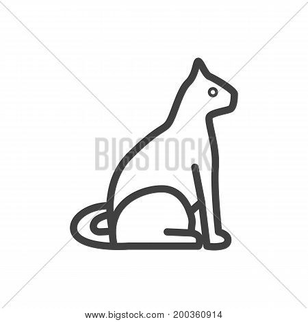 Vector Cat Element In Trendy Style.  Isolated Sitting Outline Symbol On Clean Background.