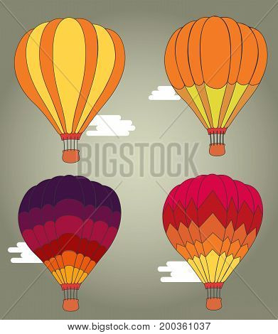 Flat design Hot air balloon in the sky with cloud background