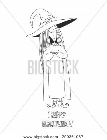 Little cute witch. Halloween poster. Vector illustration