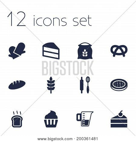 Collection Of Potholders, Pastry, Whisk And Other Elements.  Set Of 12 Food Icons Set.
