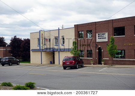CADILLAC, MICHIGAN / UNITED STATES - MAY 31, 2017:  One may enjoy bowling at Parkview Lanes in downtown Cadillac.