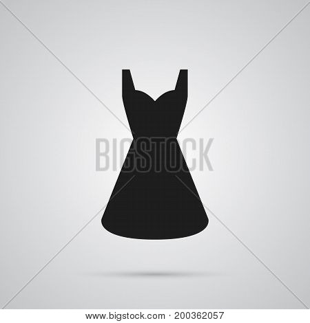 Vector Evening Gown Element In Trendy Style.  Isolated Dress Icon Symbol On Clean Background.