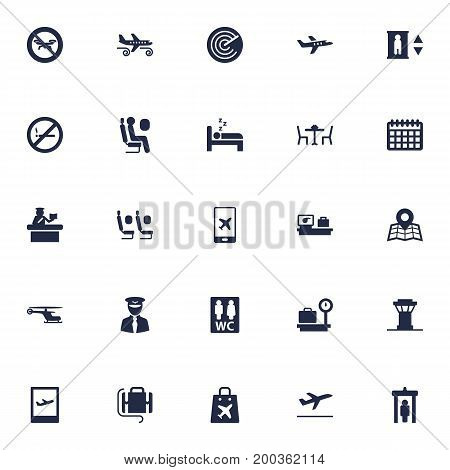 Collection Of Lift, Airplane, Shopping Bag And Other Elements.  Set Of 25 Plane Icons Set.