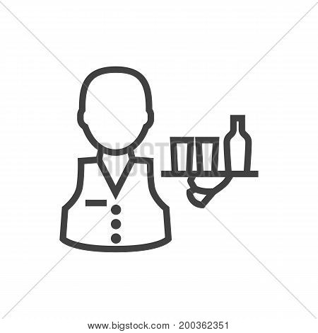 Vector Servant  Element In Trendy Style.  Isolated Waiter Outline Symbol On Clean Background.