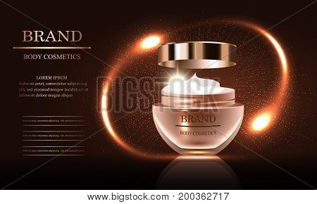Cosmetics beauty series premium body cream for skin care template for design poster placard presentation banners backgrounds vector illustration.