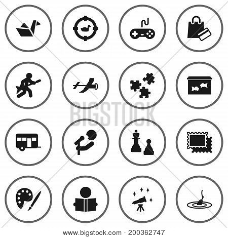 Collection Of Jigsaw, Checkmate, Rod And Other Elements.  Set Of 16 Lifestyle Icons Set.