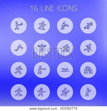 Collection Of Puck, Fight, Pong Ping And Other Elements.  Set Of 16 Athletic Outline Icons Set.