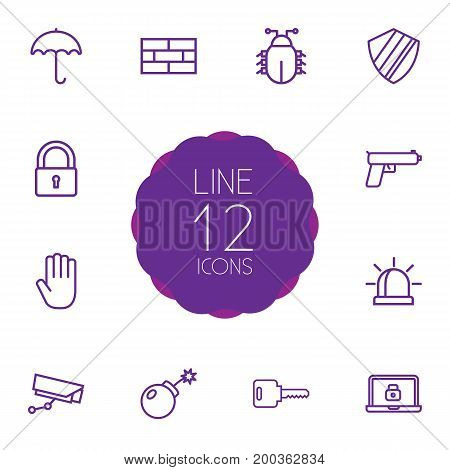 Collection Of Hand , Open, Weapon Elements.  Set Of 12 Procuring Outline Icons Set.