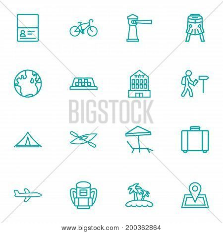 Collection Of Foreigner, Pin, Bike And Other Elements.  Set Of 16 Relax Outline Icons Set.