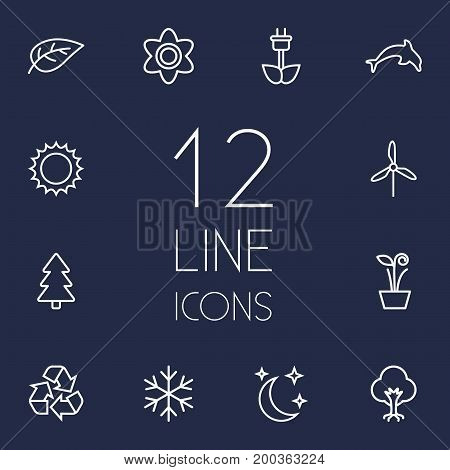 Collection Of Recycle, Electric Mill, Moon With Star And Other Elements.  Set Of 12 Nature Outline Icons Set.