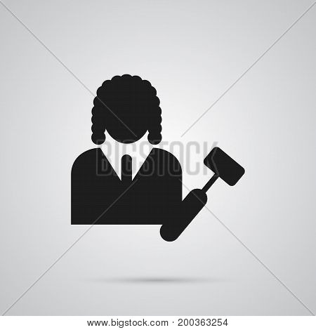 Vector Lawyer Element In Trendy Style.  Isolated Judge Icon Symbol On Clean Background.