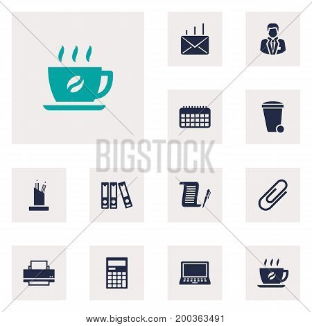 Collection Of Contract, File Folder, Manager And Other Elements.  Set Of 12 Cabinet Icons Set.