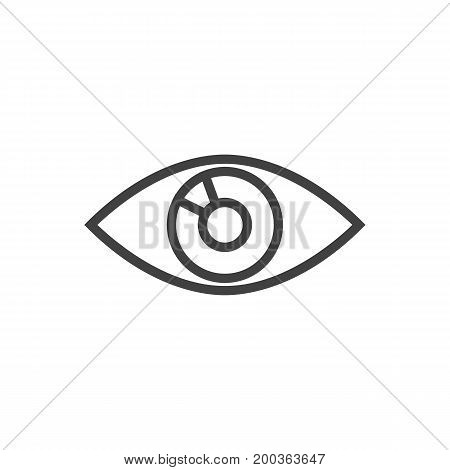 Vector Vision  Element In Trendy Style.  Isolated Eye Outline Symbol On Clean Background.