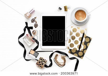 Flat Lay Fashion Feminine Home Office Workspace With Tablet, Cup Of Coffee, Stylish Black Gold Noteb