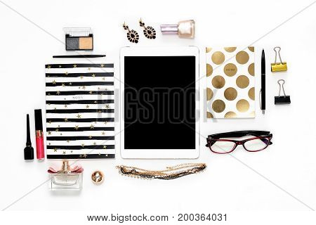 Flat Lay Fashion Feminine Home Office Workspace With Phone, Cup Of Coffee, Stylish Black Gold Notebo