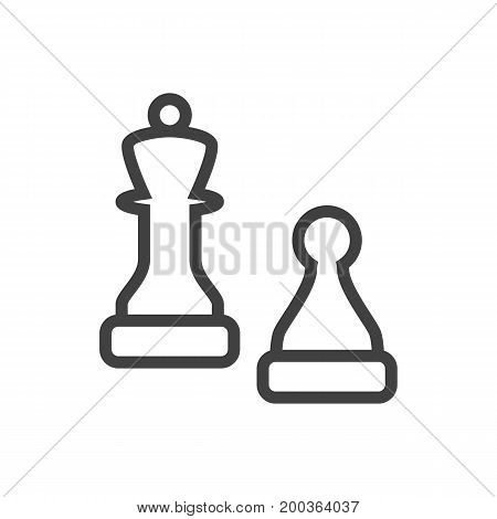 Vector Chess Element In Trendy Style.  Isolated Checkmate Outline Symbol On Clean Background.