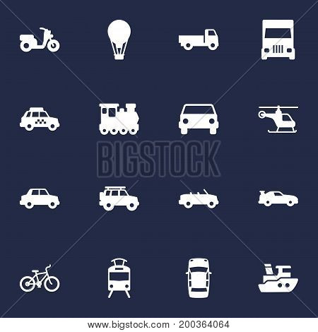Collection Of Streetcar, Bicycle, Panorama And Other Elements.  Set Of 16 Transport Icons Set.