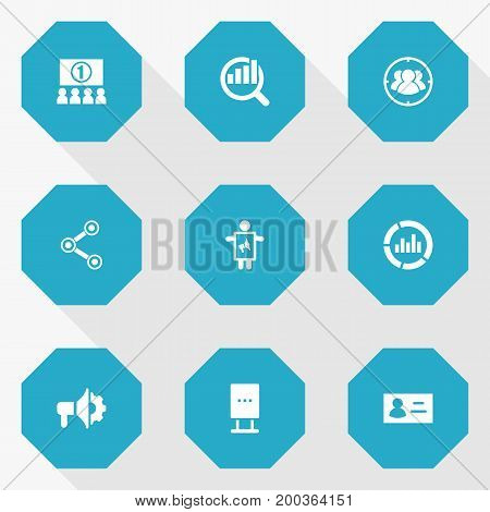 Collection Of Man With Banner, Market, Id And Other Elements.  Set Of 9 Commercial Icons Set.