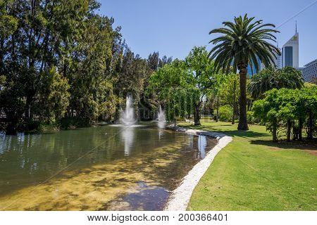 WESTERN AUSTRALIA, PERTH - NOVEMBER 2016: Fountains in Government House gardens near Perth CBD