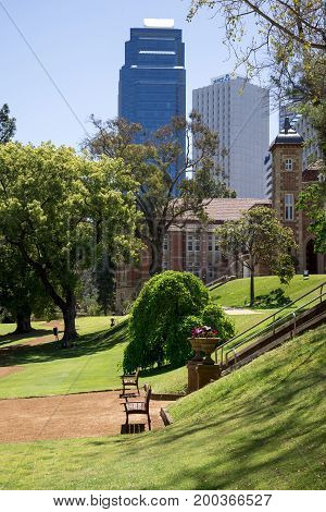 WESTERN AUSTRALIA, PERTH - NOVEMBER 2016: A view to Government House and Perth City Centre from the landscaped gardens