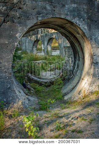 Smiley face found in old hydroelectric power ruins in Kringsjaa Kraftverk, Vennesla Norway