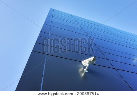 Cctv Camera On An Office Building Wall.