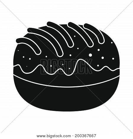 Roll bakery product in black simple silhouette style icons vector illustration for design and web isolated on white background. Roll bakery product vector object for labels and logo