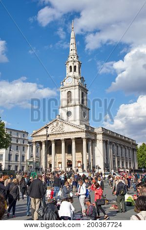 LONDON ENGLAND - MAY 13 2017 : St Martin-in-the-Fields Church at Trafalgar Square. St Martin-in-the-Fields is a landmark church in the heart of London.