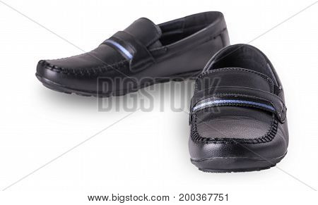 Children's shoes moccasins isolated on white background