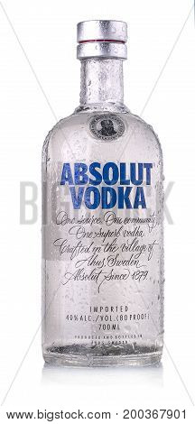 CHISINAU MOLDOVA - AUGUST 17 2017: Bottle of Swedish vodka Absolut Produced by Vin & Sprit.