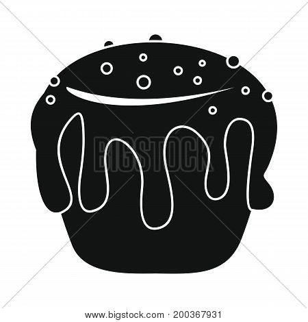 Easter cake bakery product in black simple silhouette style icons vector illustration for design and web isolated on white background. Easter cake bakery product vector object for labels and logo