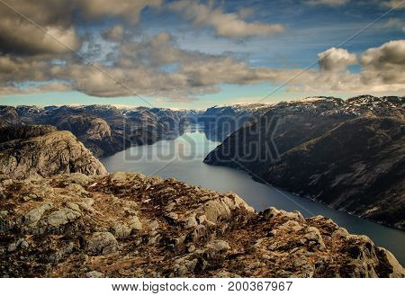 View from Preikestolen over Lysefjorden, Stavanger, Norway