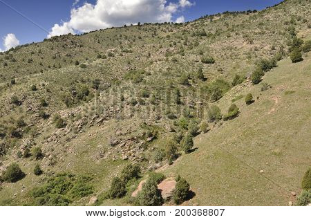 green mountains in Morrison Colorado with clear blue sky