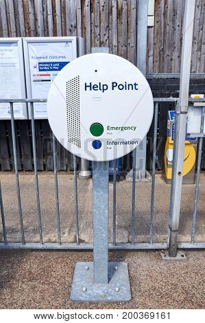 LONDON ENGLAND - MAY 13 2017 : Help Point terminal. Help Point terminals are a part of the London Underground system allowing travellers with access to help and information during their journey.