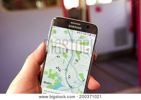 LONDON ENGLAND - MAY 14 2017 : Uber application on Samsung S7. Uber Technologies Inc. is an American technology company headquartered in San Francisco California United States