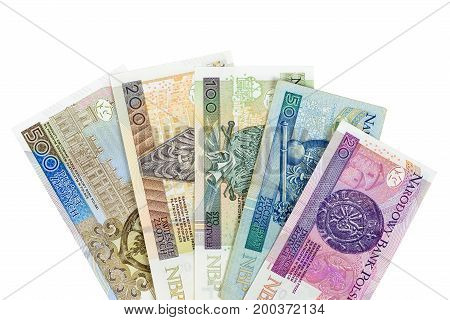 Set of polish zloty banknotes isolated on white background with clipping path