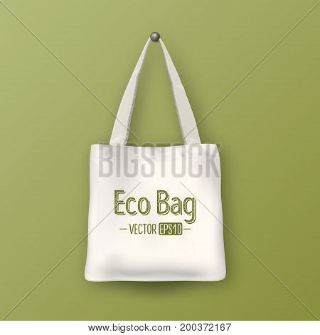 Realistic vector white empty textile tote bag. Closeup on green background. Design template for branding, mockup. EPS10 illustration.