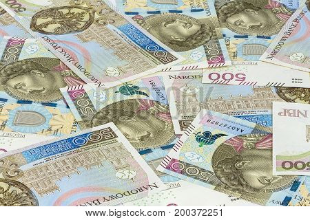 Financial background made of new 500 polish zloty banknotes