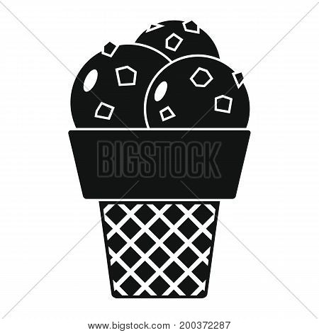 Pistachio ice cream in cone black simple silhouette icon vector illustration for design and web isolated on white background. Pistachio ice cream vector object for labels  and advertising
