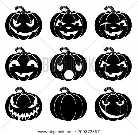 Halloween pumpkin smile the Jack's lantern head with different emotions