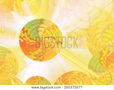 Lollipop candy abstract yellow background color light 3d illustration horizontal