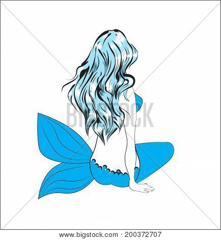 the girl the mermaid with long blue hair sits and longs