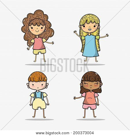 set children with clothes and hairstyle design vector illustration