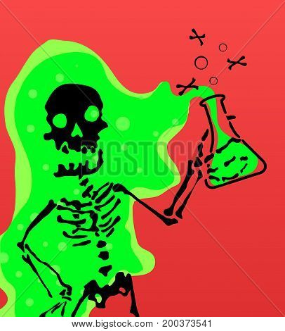 Skeleton character caustic chemical vector cartoon illustration horizontal
