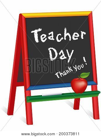Teacher Day Thank you!   Chalk text on multi color wood easel for children, apple for the Teacher, for preschool daycare kindergarten nursery elementary school. American holiday on Tuesday of 1st full week of May. EPS8 compatible.