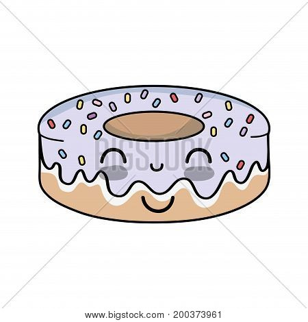 kawaii cute happy donut sweet vector illustration